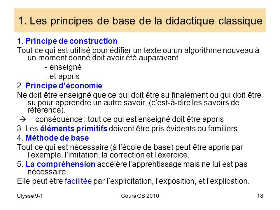 Ulysse 9-1Cours GB 201018 1. Les principes de base de la didactique classique 1. Principe de construction Tout ce qui est utilisé pour édifier un text