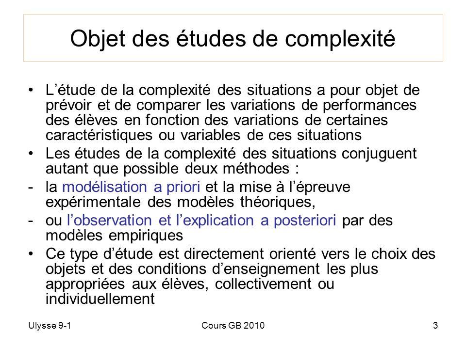Ulysse 9-1Cours GB 20103 Objet des études de complexité Létude de la complexité des situations a pour objet de prévoir et de comparer les variations d