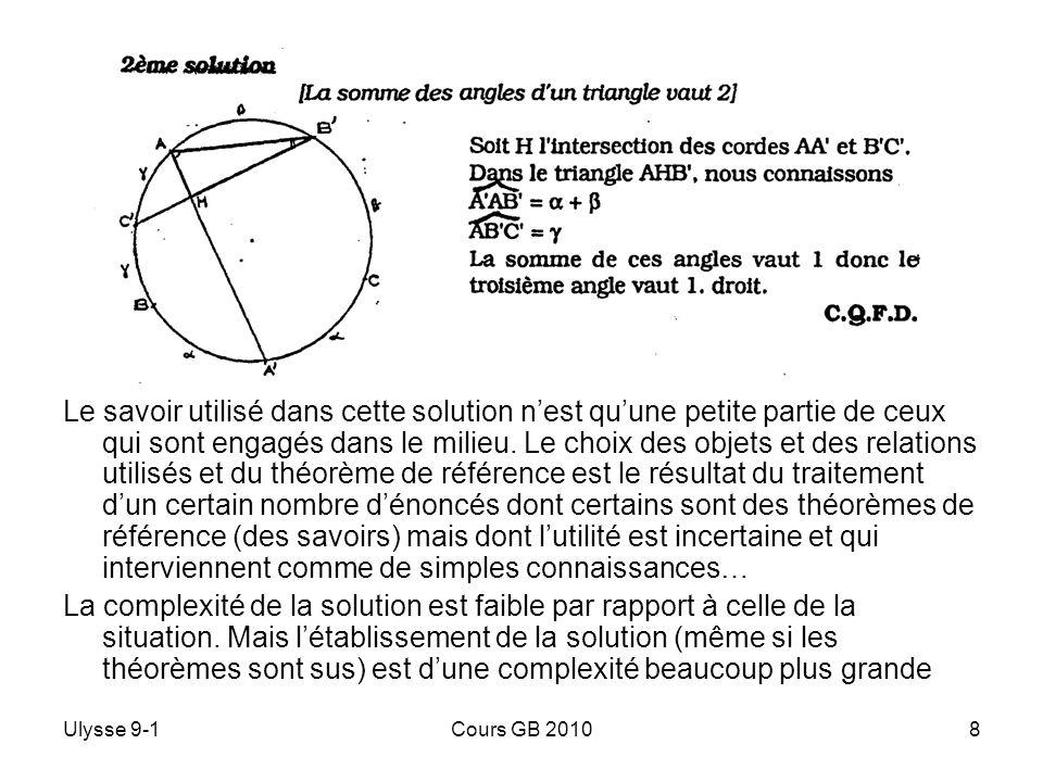 Ulysse 9-1Cours GB 20108 Le savoir utilisé dans cette solution nest quune petite partie de ceux qui sont engagés dans le milieu. Le choix des objets e