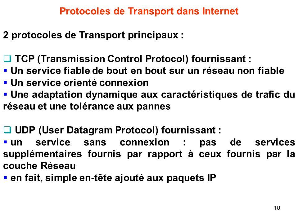 Protocoles de Transport dans Internet 2 protocoles de Transport principaux : TCP (Transmission Control Protocol) fournissant : Un service fiable de bo
