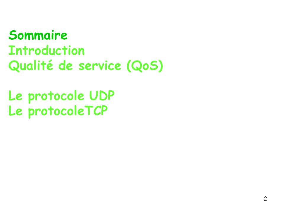 Sommaire Introduction Qualité de service (QoS) Le protocole UDP Le protocoleTCP 2
