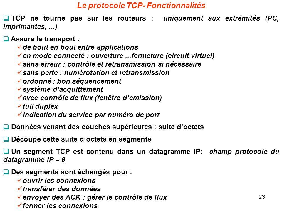 Le protocole TCP- Fonctionnalités TCP ne tourne pas sur les routeurs : uniquement aux extrémités (PC, imprimantes,...) Assure le transport : de bout e