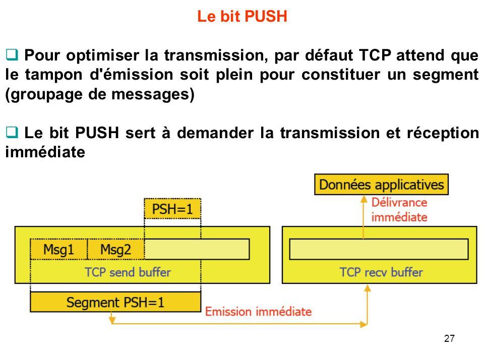 Le bit PUSH Pour optimiser la transmission, par défaut TCP attend que le tampon d'émission soit plein pour constituer un segment (groupage de messages