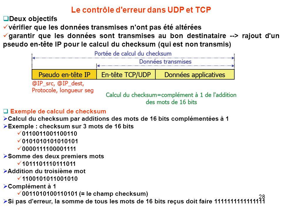 Le contrôle d'erreur dans UDP et TCP Deux objectifs vérifier que les données transmises n'ont pas été altérées garantir que les données sont transmise