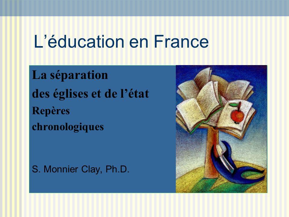 Léducation en France La séparation des églises et de létat Repères chronologiques S. Monnier Clay, Ph.D.