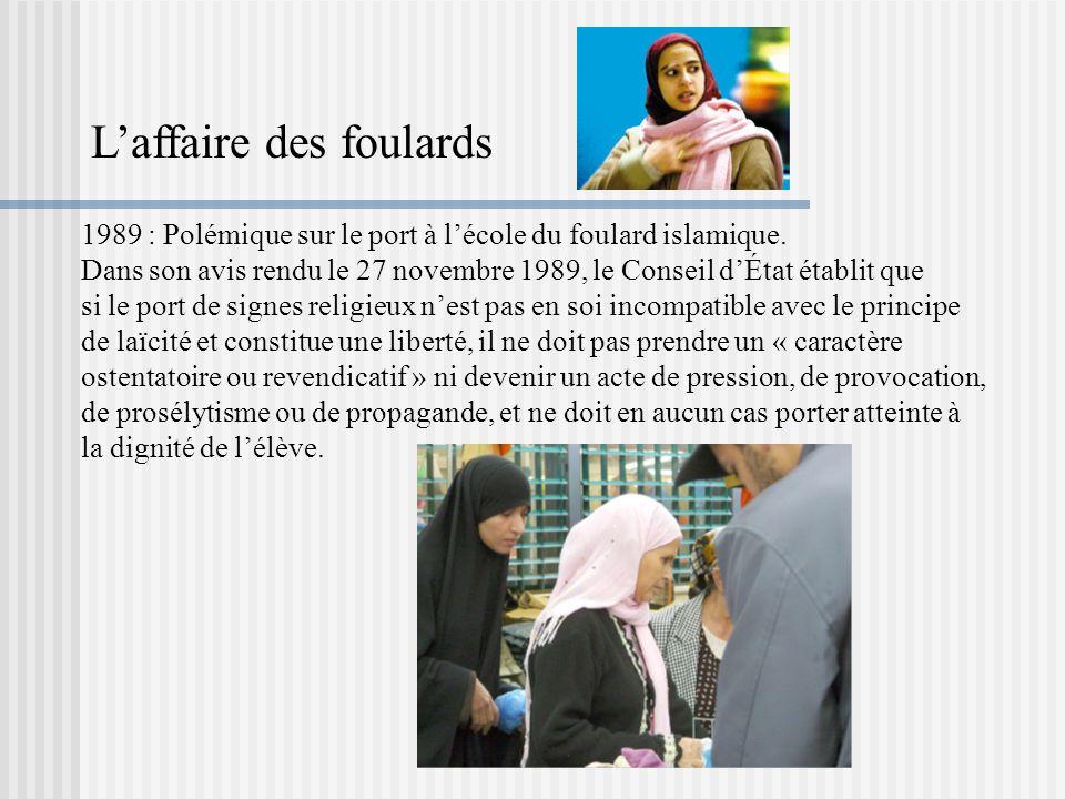 1989 : Polémique sur le port à lécole du foulard islamique. Dans son avis rendu le 27 novembre 1989, le Conseil dÉtat établit que si le port de signes