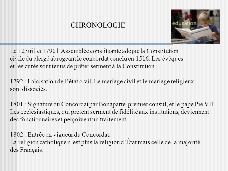 Le 12 juillet 1790 lAssemblée constituante adopte la Constitution civile du clergé abrogeant le concordat conclu en 1516. Les évêques et les curés son