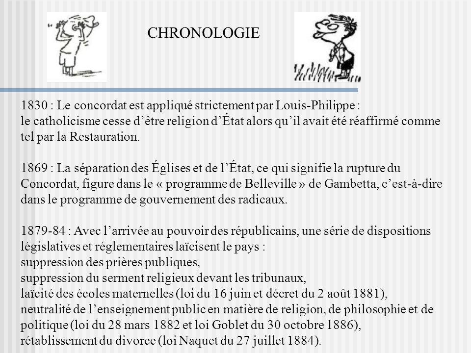 1830 : Le concordat est appliqué strictement par Louis-Philippe : le catholicisme cesse dêtre religion dÉtat alors quil avait été réaffirmé comme tel