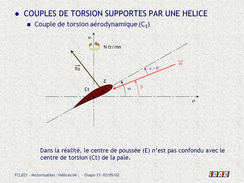 FCL021 - Motorisation : Hélices 04 : - Diapo 13 -03/05/02 COUPLES DE TORSION SUPPORTES PAR UNE HELICE Couple de torsion aérodynamique (C 3 ) Dans la réalité, le centre de poussée (E) nest pas confondu avec le centre de torsion (Ct) de la pale.