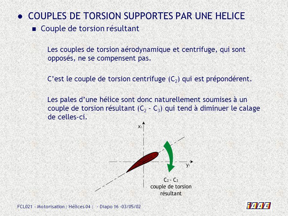 FCL021 - Motorisation : Hélices 04 : - Diapo 16 -03/05/02 COUPLES DE TORSION SUPPORTES PAR UNE HELICE Couple de torsion résultant Les couples de torsion aérodynamique et centrifuge, qui sont opposés, ne se compensent pas.