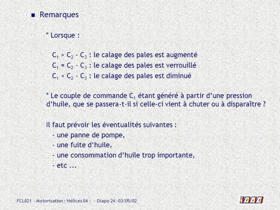FCL021 - Motorisation : Hélices 04 : - Diapo 24 -03/05/02 Remarques * Lorsque : Il faut prévoir les éventualités suivantes : - une panne de pompe, - u