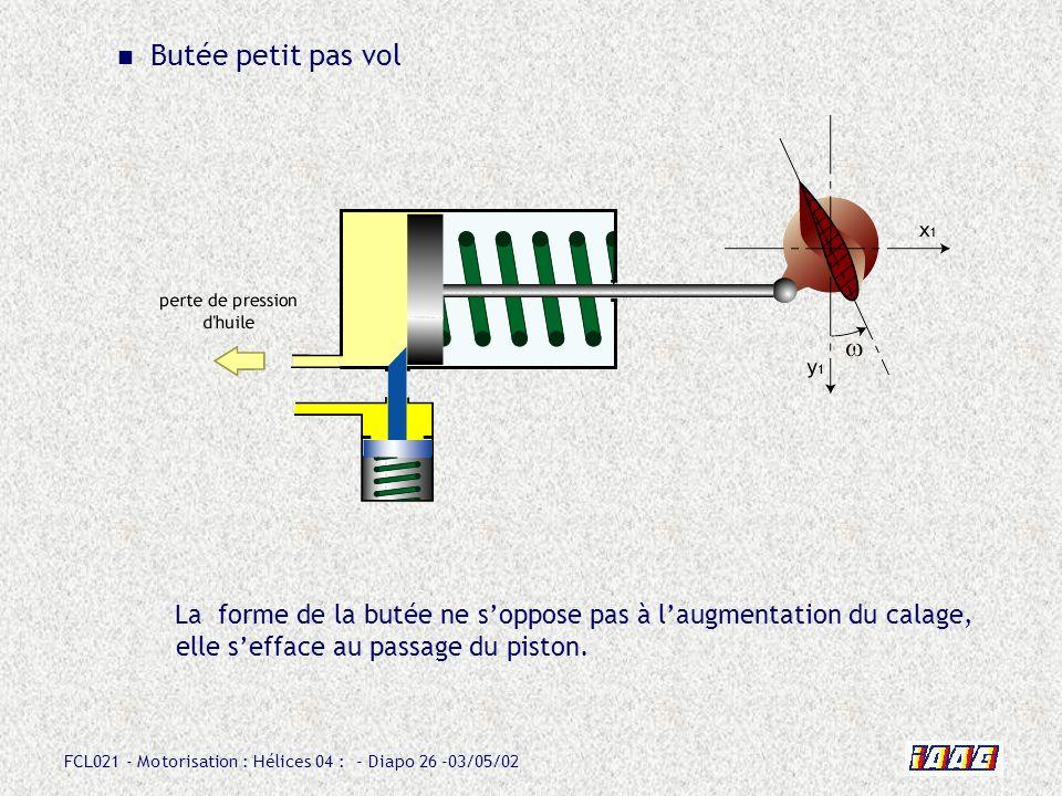 FCL021 - Motorisation : Hélices 04 : - Diapo 26 -03/05/02 Butée petit pas vol La forme de la butée ne soppose pas à laugmentation du calage, elle seff