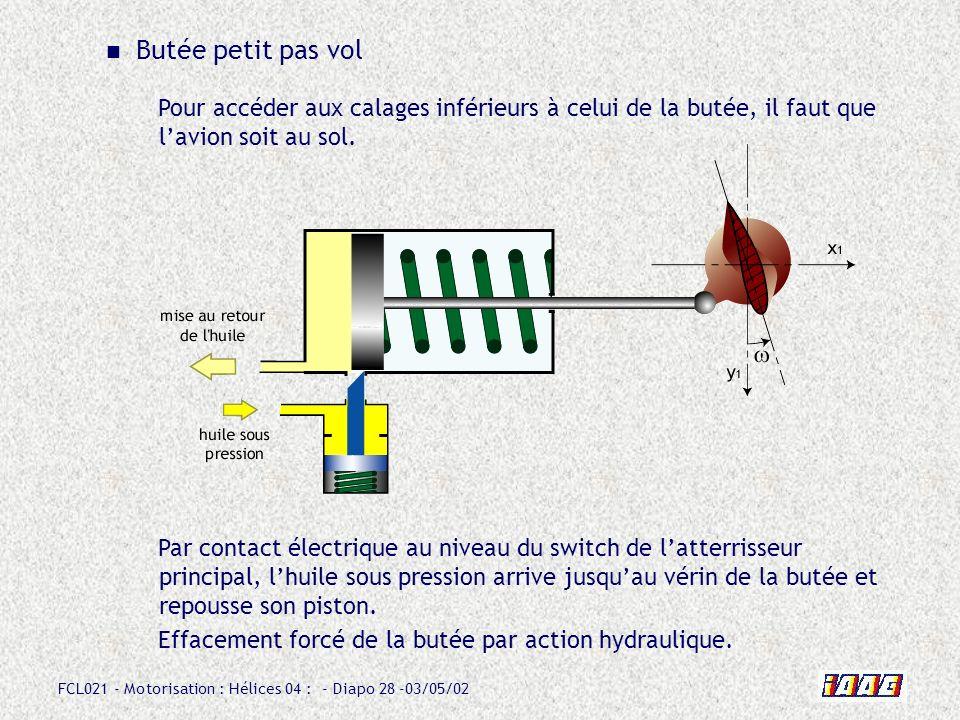 FCL021 - Motorisation : Hélices 04 : - Diapo 28 -03/05/02 Butée petit pas vol Pour accéder aux calages inférieurs à celui de la butée, il faut que lavion soit au sol.