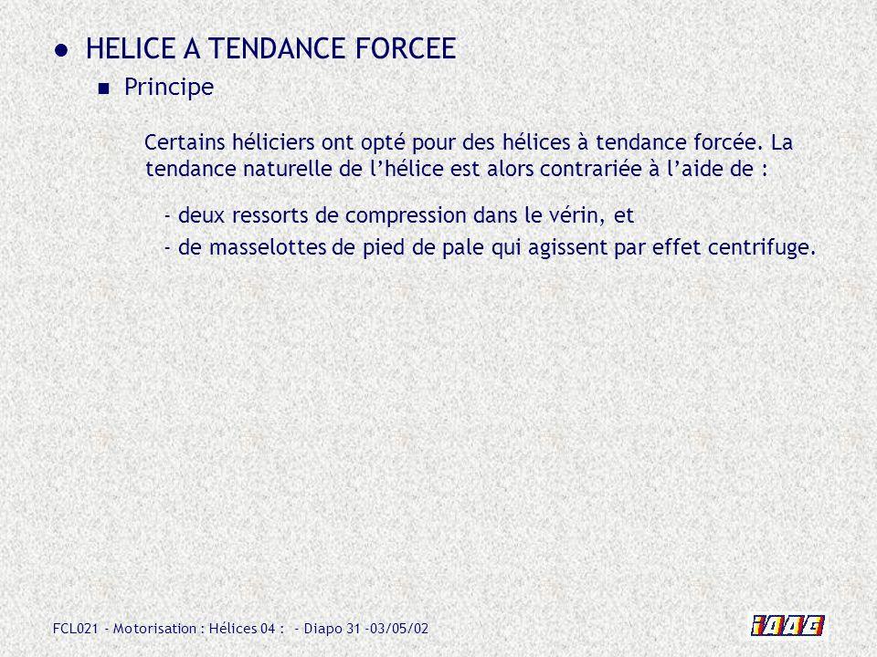 FCL021 - Motorisation : Hélices 04 : - Diapo 31 -03/05/02 HELICE A TENDANCE FORCEE Principe - deux ressorts de compression dans le vérin, et - de masselottes de pied de pale qui agissent par effet centrifuge.