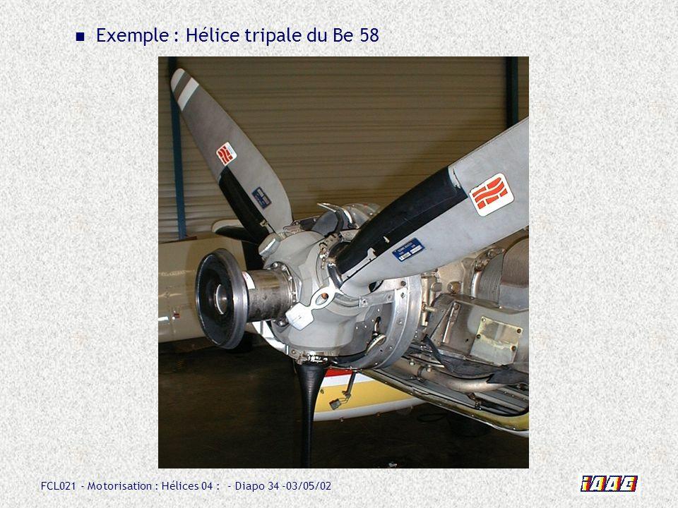 FCL021 - Motorisation : Hélices 04 : - Diapo 34 -03/05/02 Exemple : Hélice tripale du Be 58