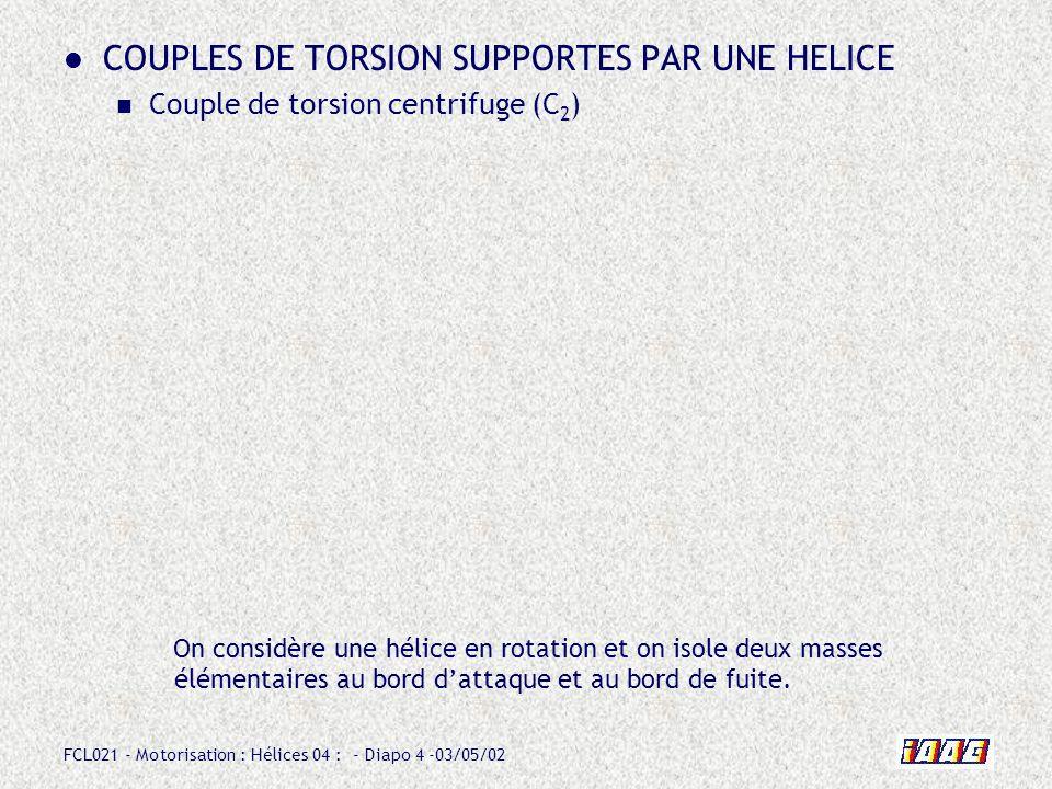 FCL021 - Motorisation : Hélices 04 : - Diapo 15 -03/05/02 COUPLES DE TORSION SUPPORTES PAR UNE HELICE Couple de torsion résultant Les pales dune hélice sont donc naturellement soumises à un couple de torsion résultant (C 2 - C 3 ) qui tend à diminuer le calage de celles-ci.