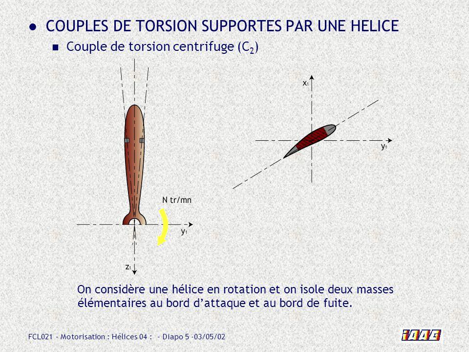 FCL021 - Motorisation : Hélices 04 : - Diapo 6 -03/05/02 COUPLES DE TORSION SUPPORTES PAR UNE HELICE Couple de torsion centrifuge (C 2 ) Ces masses élémentaires sont soumises à leffet centrifuge.