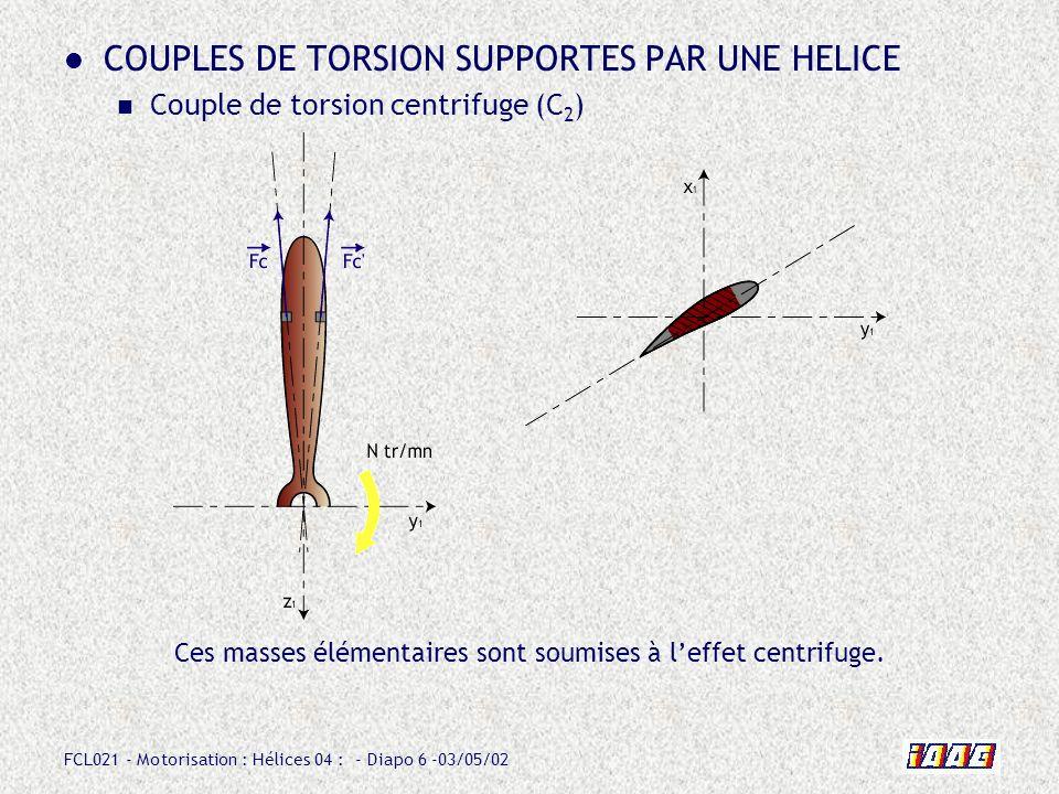 FCL021 - Motorisation : Hélices 04 : - Diapo 27 -03/05/02 Butée petit pas vol Pour accéder aux calages inférieurs à celui de la butée, il faut que lavion soit au sol.