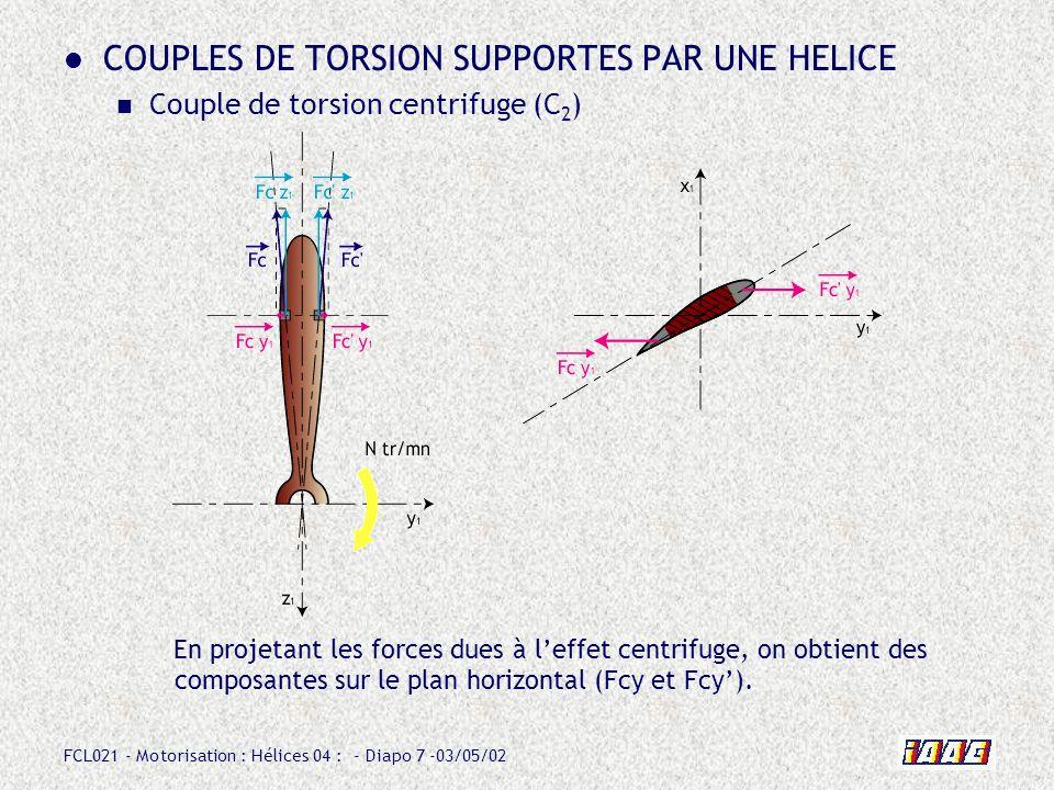 FCL021 - Motorisation : Hélices 04 : - Diapo 8 -03/05/02 COUPLES DE TORSION SUPPORTES PAR UNE HELICE Couple de torsion centrifuge (C 2 ) La distance d qui les sépare fait apparaître un couple qui tend à : - diminuer le calage (torsion dorigine centrifuge).