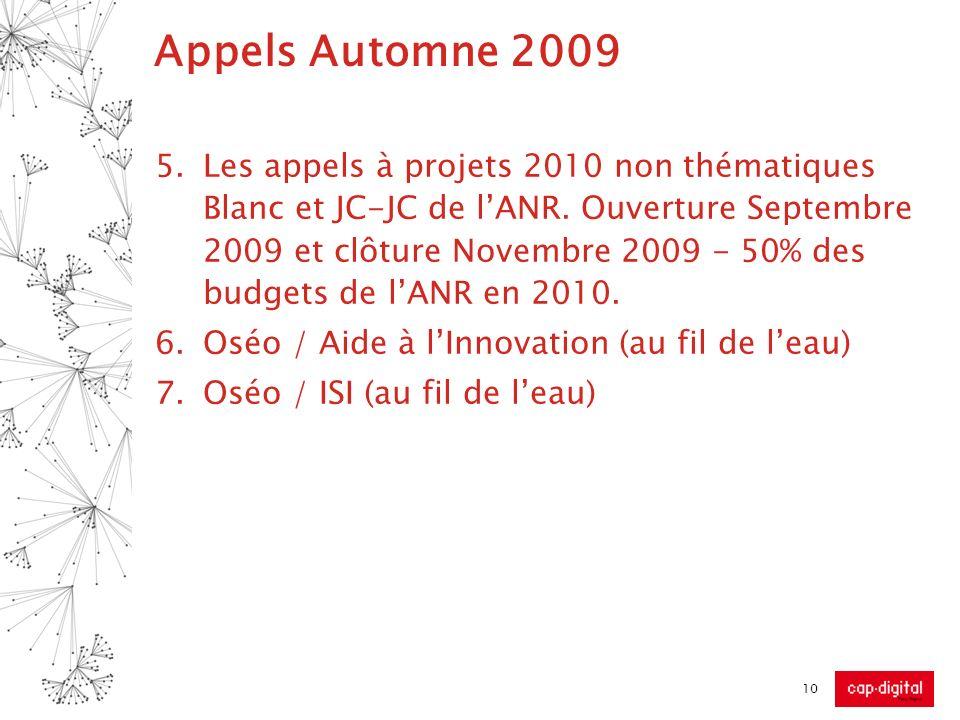 Appels Automne 2009 5.Les appels à projets 2010 non thématiques Blanc et JC-JC de lANR. Ouverture Septembre 2009 et clôture Novembre 2009 - 50% des bu