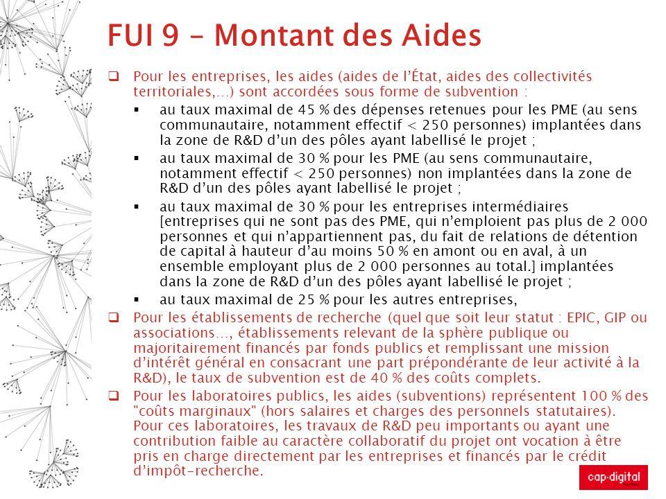 FUI 9 – Montant des Aides Pour les entreprises, les aides (aides de lÉtat, aides des collectivités territoriales,…) sont accordées sous forme de subve