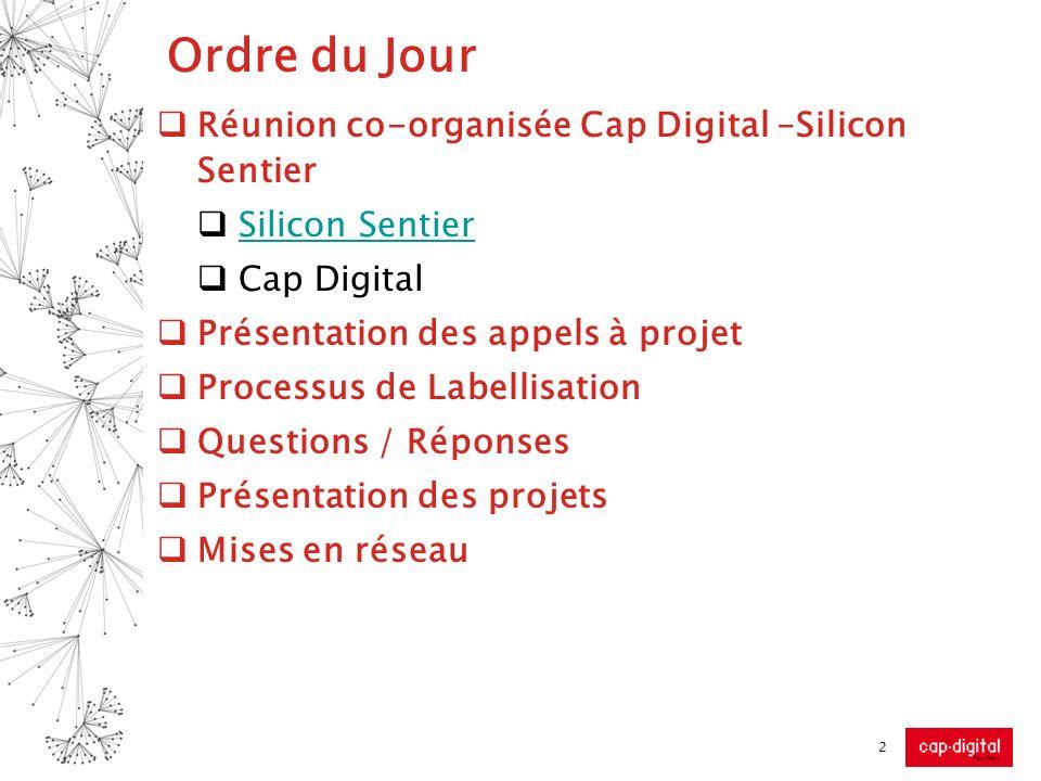 Ordre du Jour Réunion co-organisée Cap Digital –Silicon Sentier Silicon Sentier Cap Digital Présentation des appels à projet Processus de Labellisatio