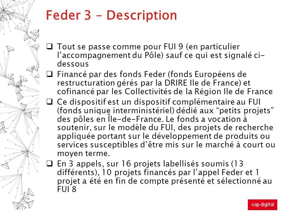 Feder 3 – Description Tout se passe comme pour FUI 9 (en particulier laccompagnement du Pôle) sauf ce qui est signalé ci- dessous Financé par des fond