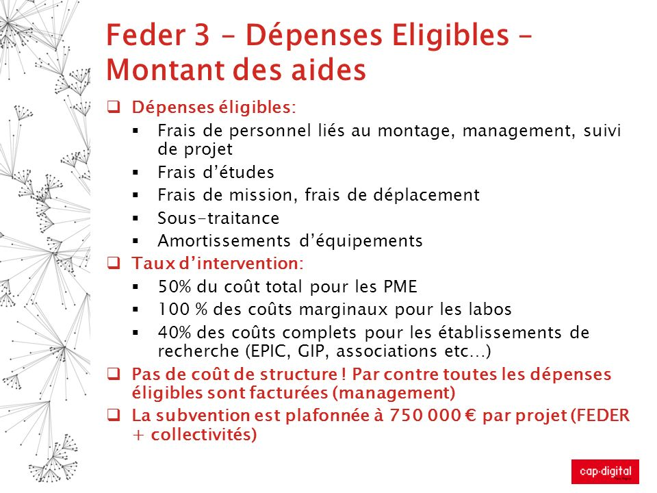 Feder 3 – Dépenses Eligibles – Montant des aides Dépenses éligibles: Frais de personnel liés au montage, management, suivi de projet Frais détudes Fra