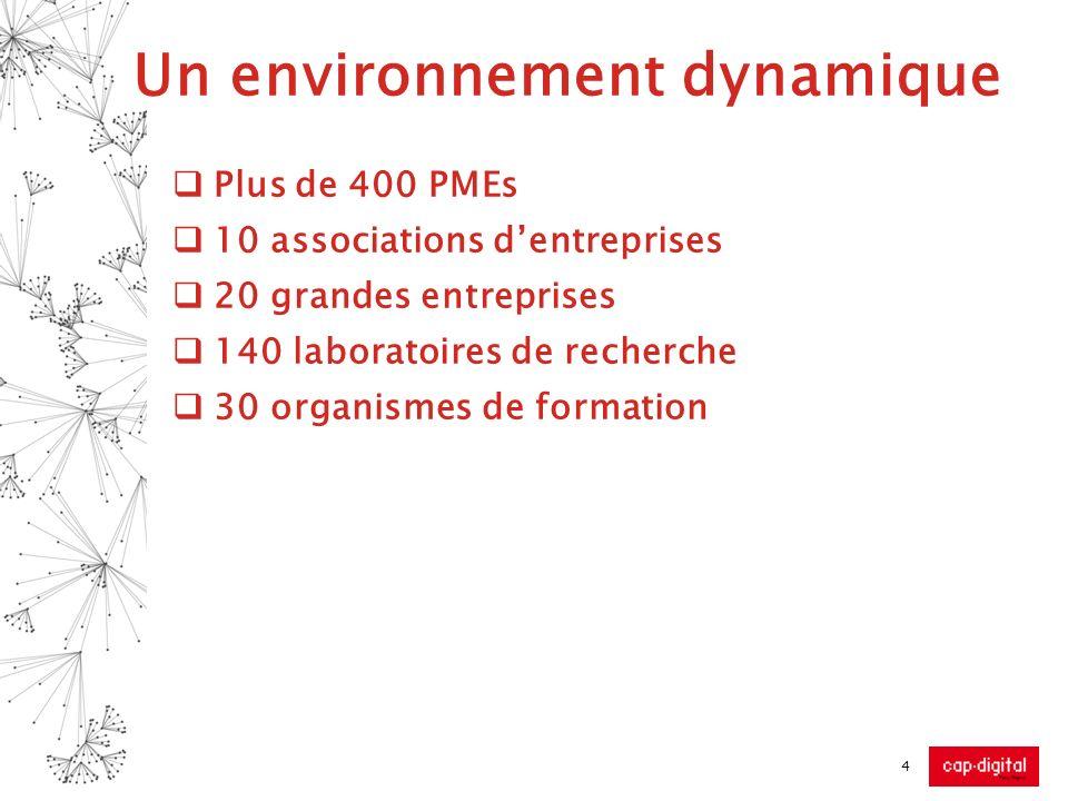 4 Un environnement dynamique Plus de 400 PMEs 10 associations dentreprises 20 grandes entreprises 140 laboratoires de recherche 30 organismes de forma