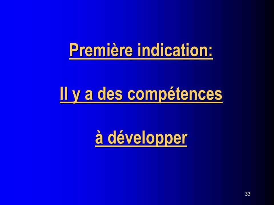 33 Première indication: Il y a des compétences à développer