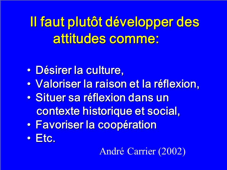 40 Il faut plutôt d é velopper des Il faut plutôt d é velopper des attitudes comme: attitudes comme: D é sirer la culture,D é sirer la culture, Valori