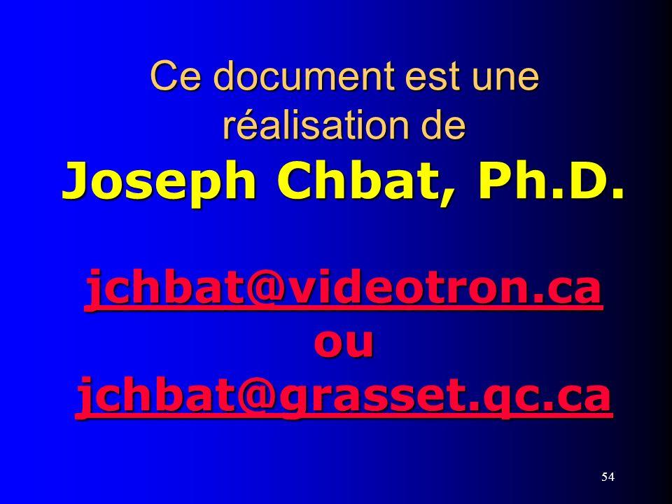 54 Ce document est une réalisation de Joseph Chbat, Ph.D. jchbat@videotron.ca ou jchbat@grasset.qc.ca jchbat@videotron.ca jchbat@grasset.qc.ca jchbat@