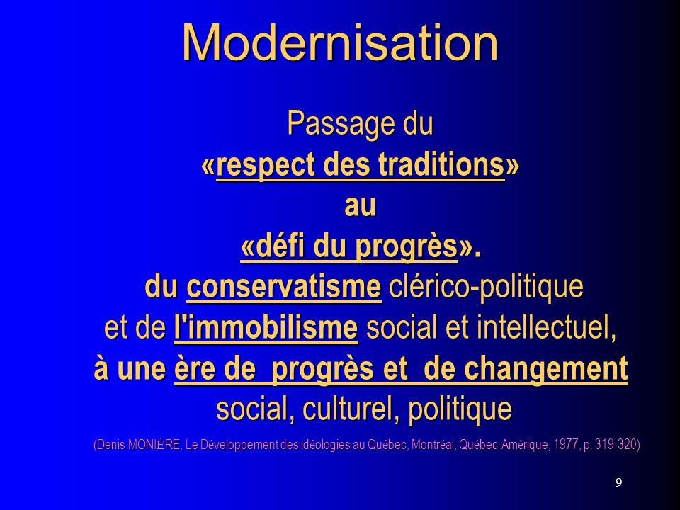 9Modernisation Passage du «respect des traditions» au «défi du progrès». du conservatisme clérico-politique et de l'immobilisme social et intellectuel