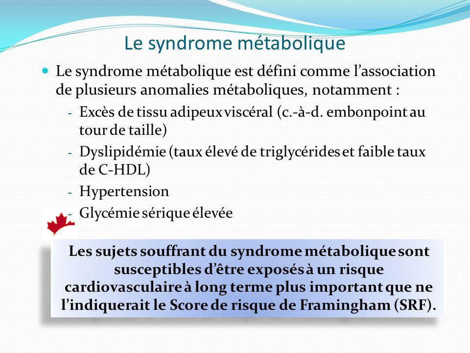 Le syndrome métabolique Le syndrome métabolique est défini comme lassociation de plusieurs anomalies métaboliques, notamment : - Excès de tissu adipeux viscéral (c.-à-d.
