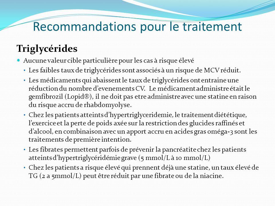Recommandations pour le traitement Triglycérides Aucune valeur cible particulière pour les cas à risque élevé Les faibles taux de triglycérides sont associés à un risque de MCV réduit.