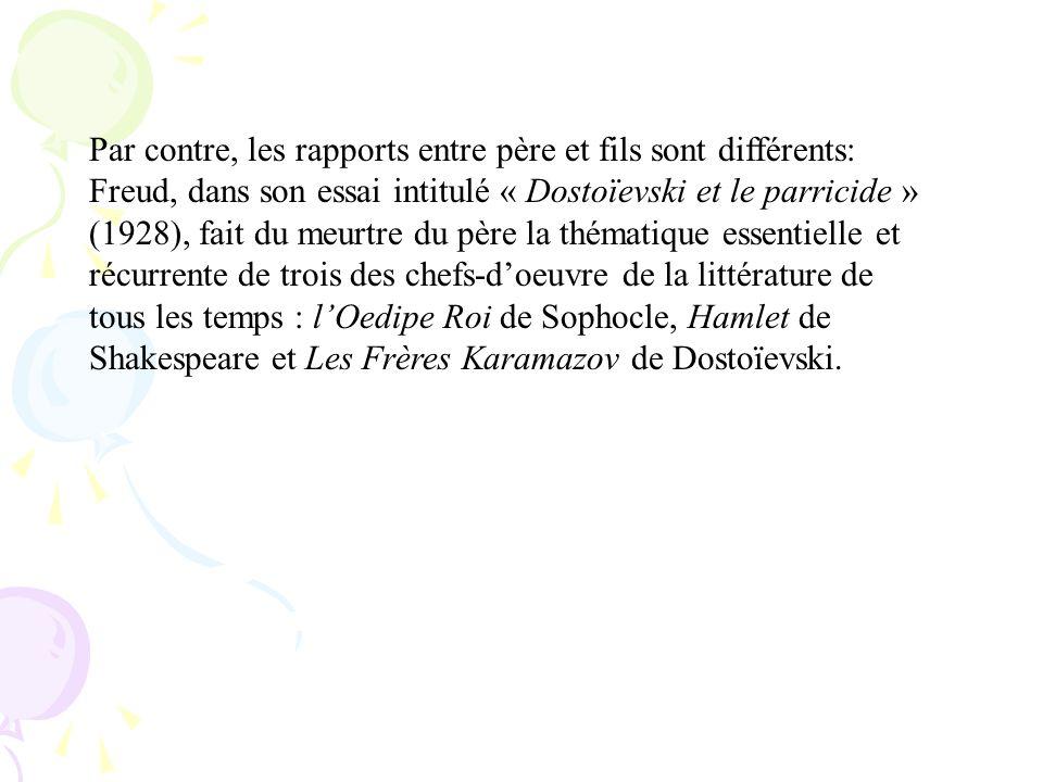 Par contre, les rapports entre père et fils sont différents: Freud, dans son essai intitulé « Dostoïevski et le parricide » (1928), fait du meurtre du