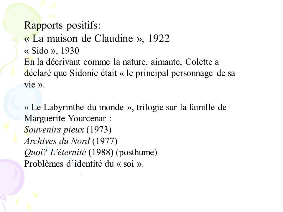 Rapports positifs: « La maison de Claudine », 1922 « Sido », 1930 En la décrivant comme la nature, aimante, Colette a déclaré que Sidonie était « le p