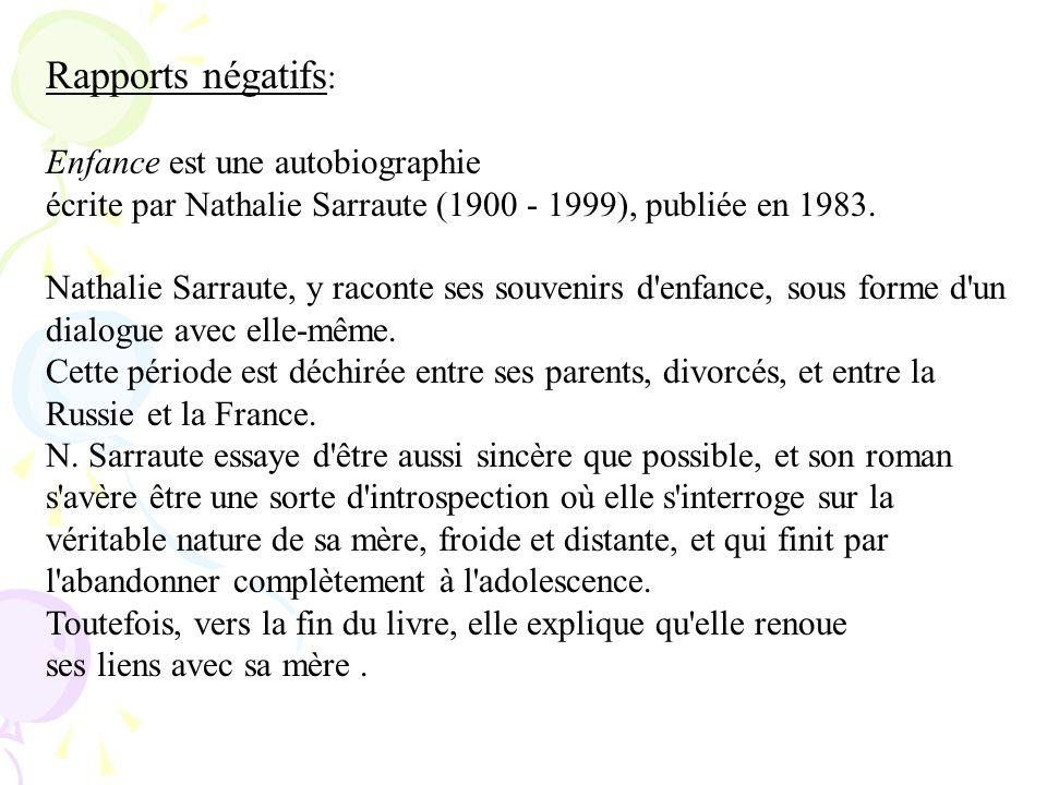 Rapports négatifs : Enfance est une autobiographie écrite par Nathalie Sarraute (1900 - 1999), publiée en 1983. Nathalie Sarraute, y raconte ses souve