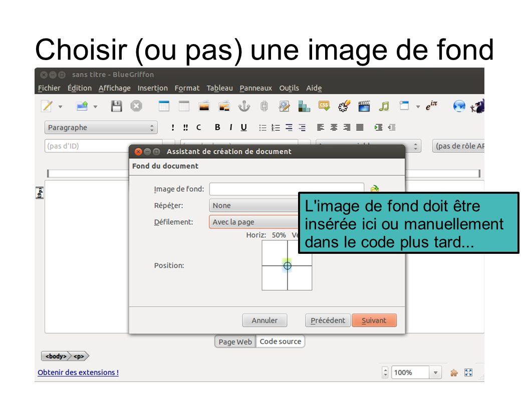 Choisir (ou pas) une image de fond L image de fond doit être insérée ici ou manuellement dans le code plus tard...