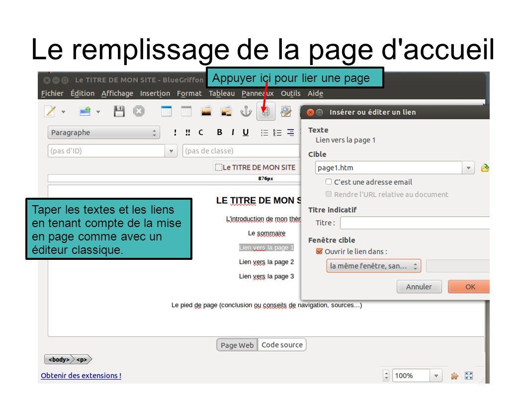 Le remplissage de la page d accueil Taper les textes et les liens en tenant compte de la mise en page comme avec un éditeur classique.