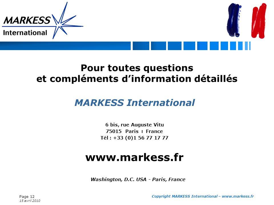 Page 12 15 avril 2010 Copyright MARKESS International – www.markess.fr 6 bis, rue Auguste Vitu 75015 Paris l France Tél : +33 (0)1 56 77 17 77 www.mar