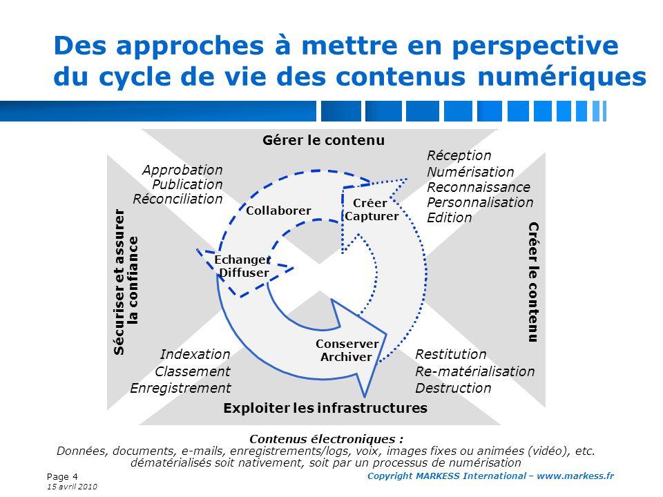 Page 4 15 avril 2010 Copyright MARKESS International – www.markess.fr Des approches à mettre en perspective du cycle de vie des contenus numériques Gé