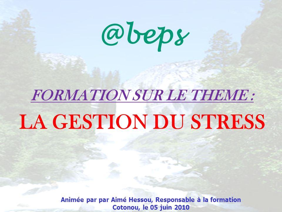 Animée par par Aimé Hessou, Responsable à la formation Cotonou, le 05 juin 2010 FORMATION SUR LE THEME : LA GESTION DU STRESS @beps