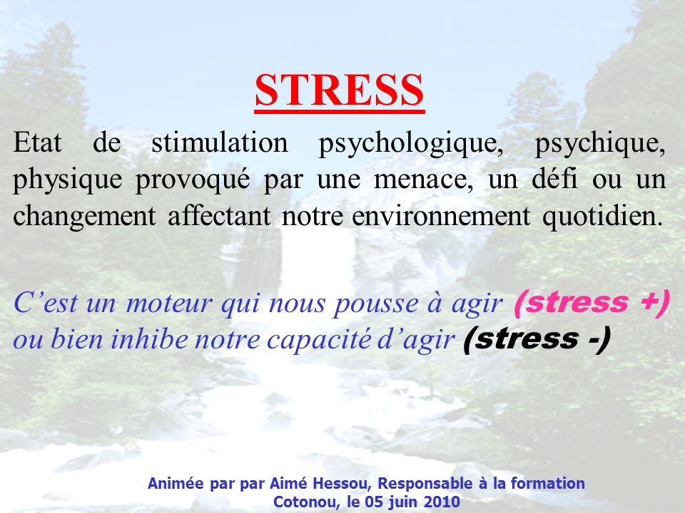 STRESS Etat de stimulation psychologique, psychique, physique provoqué par une menace, un défi ou un changement affectant notre environnement quotidie