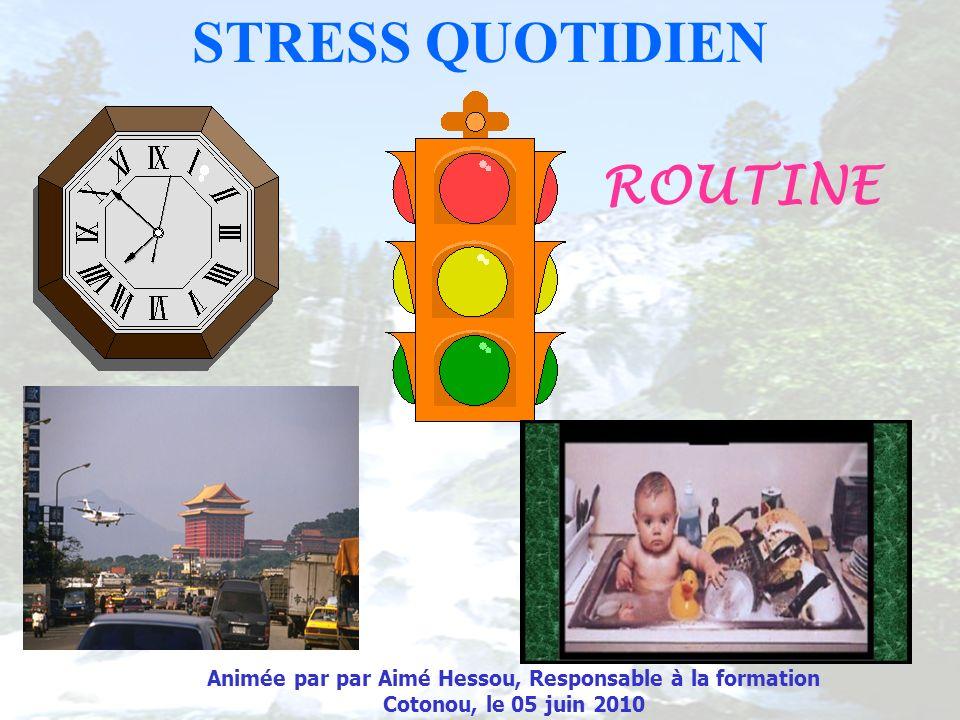 STRESS QUOTIDIEN ROUTINE Animée par par Aimé Hessou, Responsable à la formation Cotonou, le 05 juin 2010