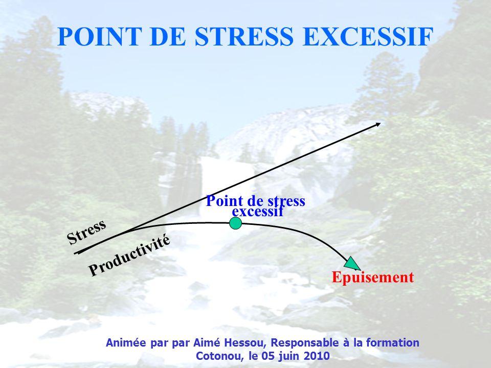 POINT DE STRESS EXCESSIF Stress Productivité Point de stress excessif Epuisement Animée par par Aimé Hessou, Responsable à la formation Cotonou, le 05