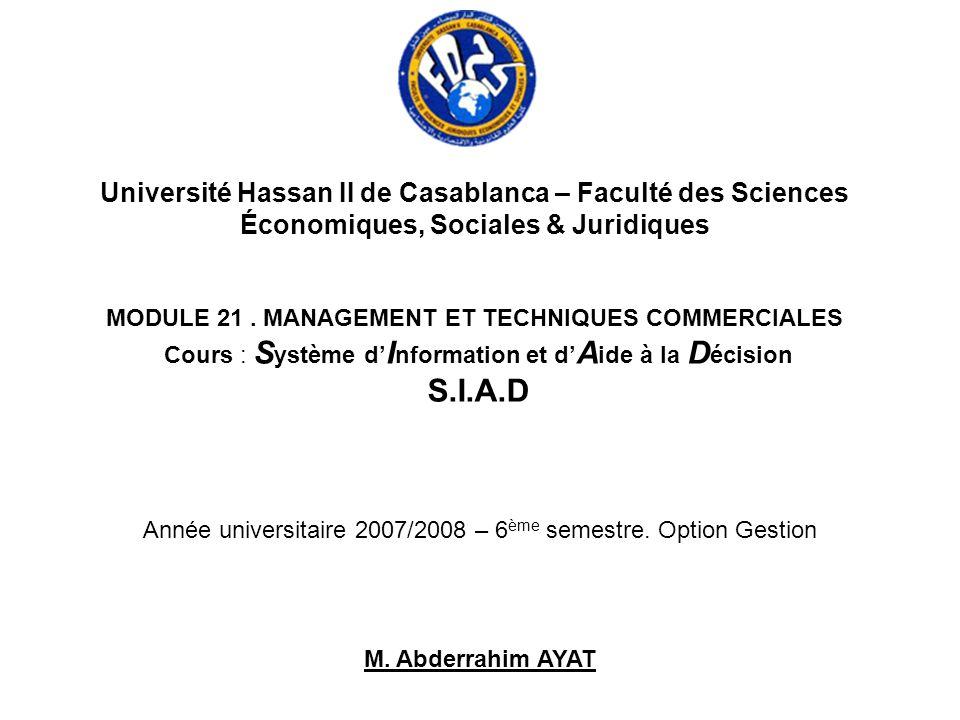 Université Hassan II de Casablanca – Faculté des Sciences Économiques, Sociales & Juridiques MODULE 21. MANAGEMENT ET TECHNIQUES COMMERCIALES Cours :