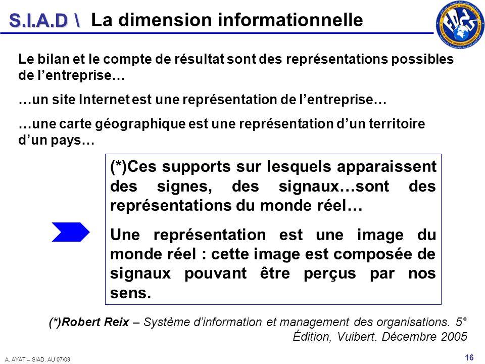 S.I.A.D \ 16 A. AYAT – SIAD. AU 07/08 La dimension informationnelle Le bilan et le compte de résultat sont des représentations possibles de lentrepris