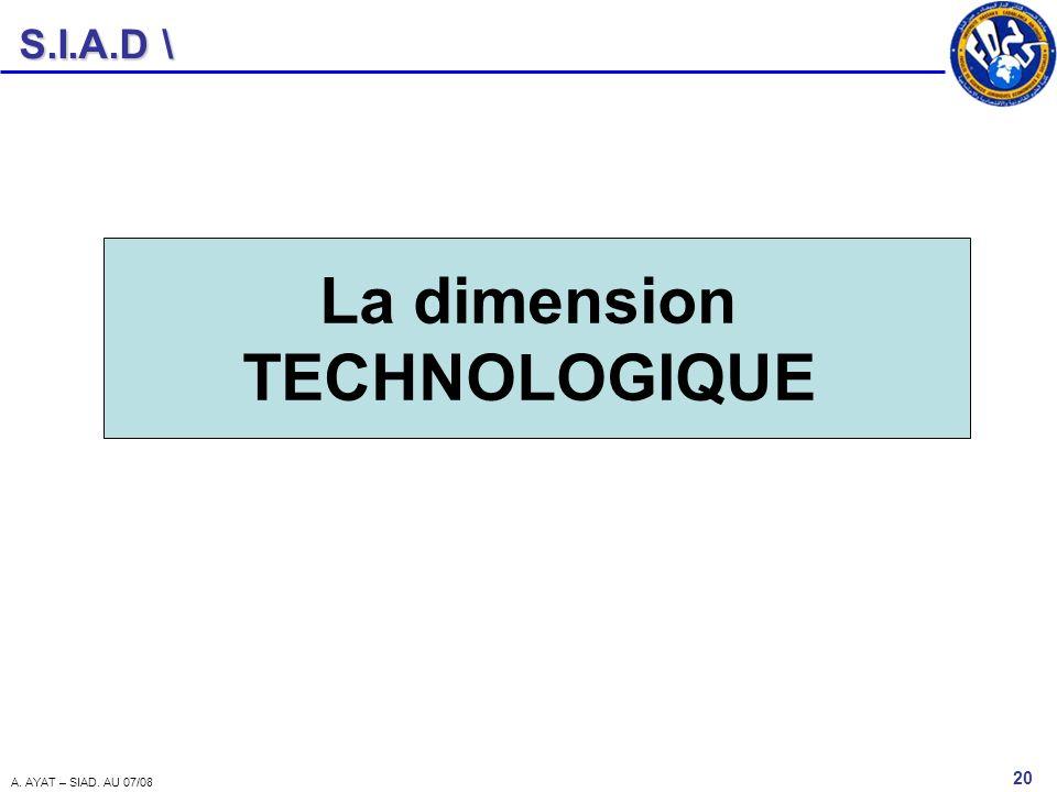 S.I.A.D \ 20 A. AYAT – SIAD. AU 07/08 La dimension TECHNOLOGIQUE