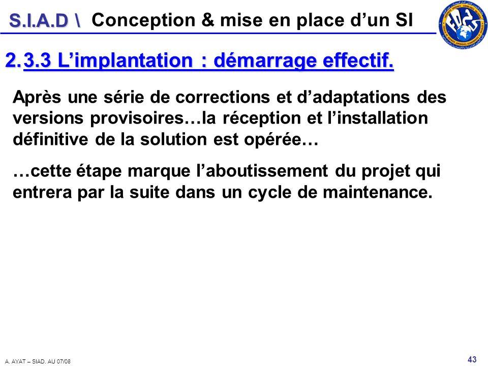 S.I.A.D \ 43 A. AYAT – SIAD. AU 07/08 Conception & mise en place dun SI 2.3.3 Limplantation : démarrage effectif. Après une série de corrections et da